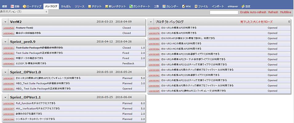 バックログ管理画面